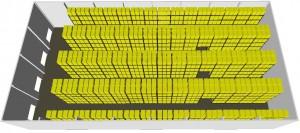 3D схема размещения металлических стеллажей
