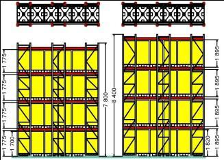 Набивные (глубинные) металлические стеллажи: план схема