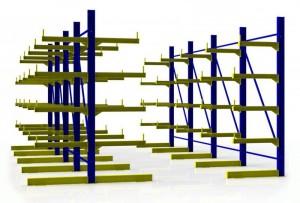 Двухсторонние консольные металлические стеллажи
